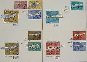 Russian First Day Covers - Set of 4 - Commercial Aviation - 1969